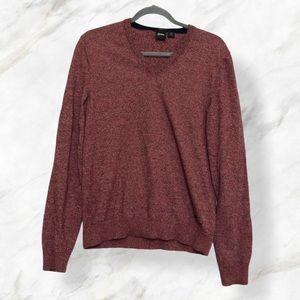 Hugo Boss men's small red v-neck pullover sweater